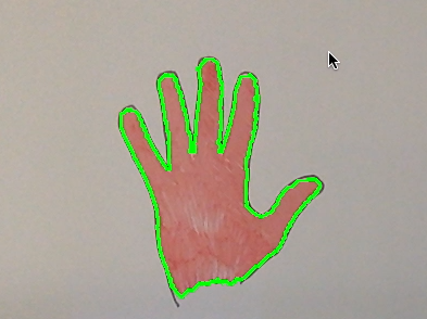 Hand with contour boundaries