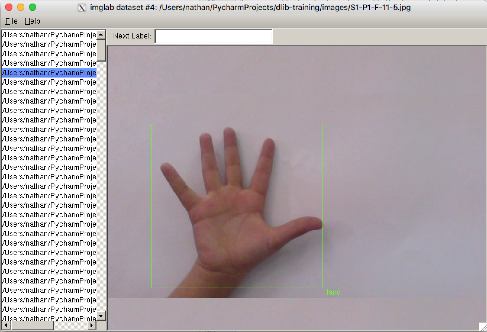 dlib classification for use in object detection – Hand Map